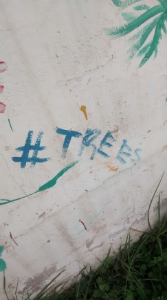 Painted on a tree.